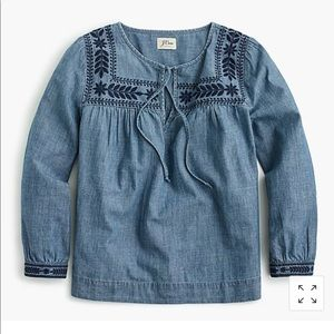 J Crew Embroidered Boho chambray Top size XL